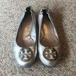 Tory Burch silver Reva flat shoes size 7